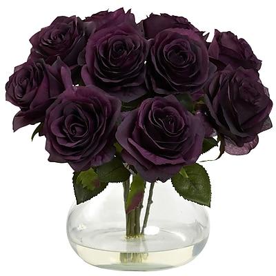 Nearly Natural 1367-PE Rose Arrangement with Vase, Elegance Purple