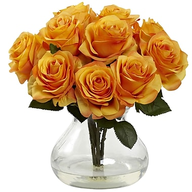 Nearly Natural Rose Arrangement with Vase, Yellow/Orange (1367-OY)