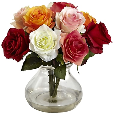 Nearly Natural Rose Arrangement with Vase, Assorted (1367-AS)