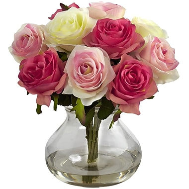 Nearly Natural Rose Arrangement with Vase, Assorted Pastels (1367-AP)