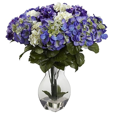 Nearly Natural 1368-BP Mixed Hydrangea Blue & Purple, 20 x 17-inch