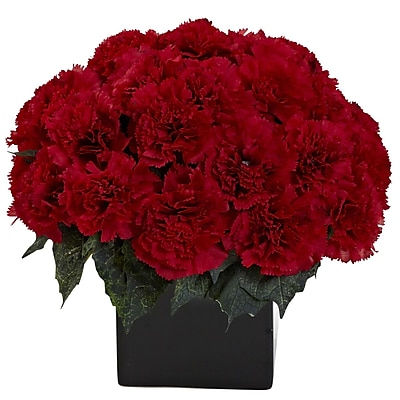 Nearly Natural 1372-RD Carnation Arrangement with Vase, Red