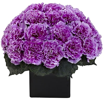 Nearly Natural 1372-PP Carnation Arrangement with Vase, Purple