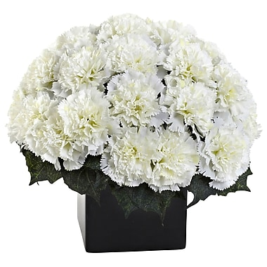 Nearly Natural 1372-CR Carnation Arrangement with Vase, Cream