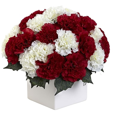 Nearly Natural Carnation Arrangement with Vase, Red & White (1372-RW)