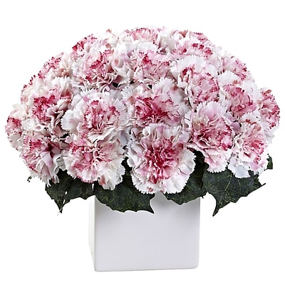 Nearly Natural 1372-WM Carnation Arrangement with Vase, White & Mauve