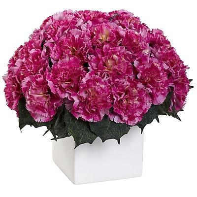 Nearly Natural 1372-DP Carnation Arrangement with Vase, Dark Pink