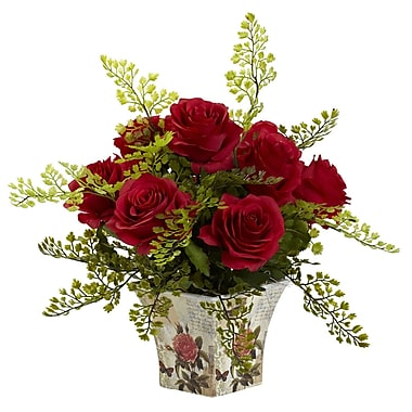 Nearly Natural 1379-RD Maiden Hair with Floral Planter, Red