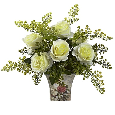 Nearly Natural 1379-WH Maiden Hair with Floral Planter, White