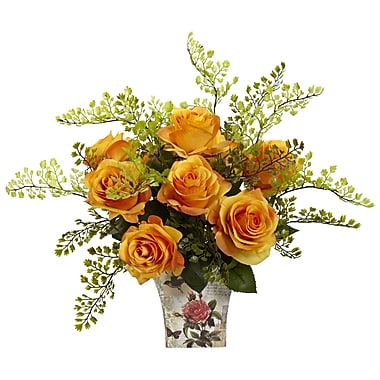 Nearly Natural 1379-OY Maiden Hair with Floral Planter, Orange & Yellow