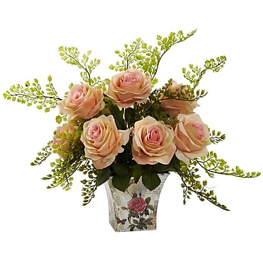Nearly Natural 1379-PH Maiden Hair with Floral Planter, Peach