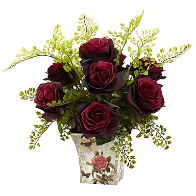 Nearly Natural 1379-BG Maiden Hair with Floral Planter, Burgundy