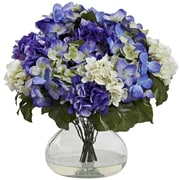Nearly Natural 1387-BP Hydrangea with Vase Large Blue & Purple