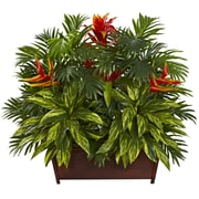 Nearly Natural 6833 Tropical Garden with Wood Planter 30 x 35 inch Orange