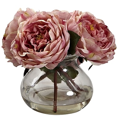 Nearly Natural 1391-PK Fancy Rose with Vase 8 x 8.5 inch, Pink