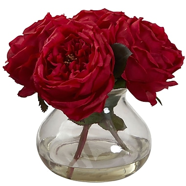 Nearly Natural 1391-RD Fancy Rose with Vase 8 x 8.5 inch, Red