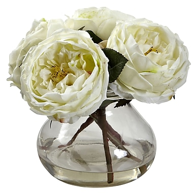 Nearly Natural 1391-WH Fancy Rose with Vase 8 x 8.5 inch, White