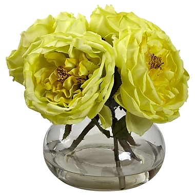 Nearly Natural 1391-YL Fancy Rose with Vase 8 x 8.5 inch, Yellow
