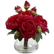 Nearly Natural Peony and Rose with Vase