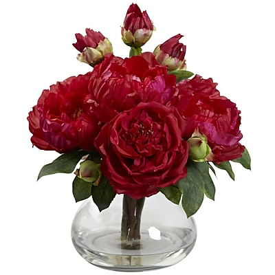 Nearly Natural 1400-RD Peony and Rose with Vase, Red