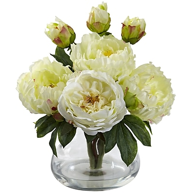 Nearly Natural 1400-WH Peony and Rose with Vase, White
