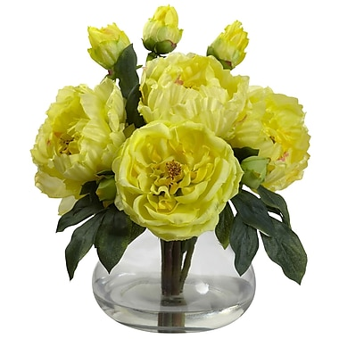 Nearly Natural 1400-YL Peony and Rose with Vase, Yellow