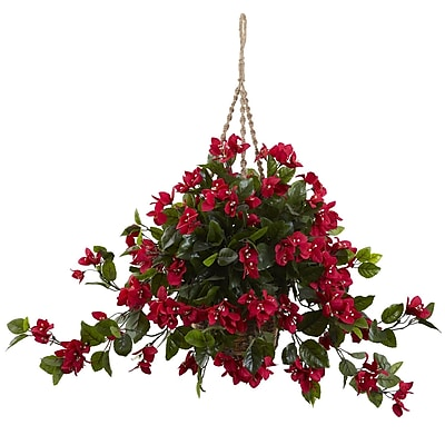 Nearly Natural 6845-RD Bougainvillea Hanging Basket Red