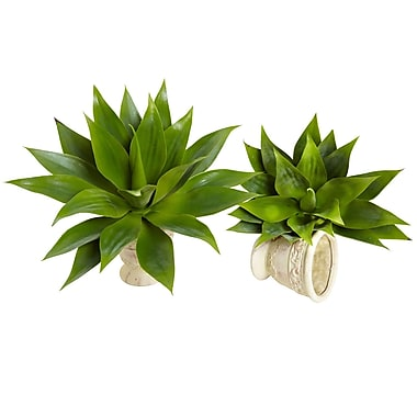 Nearly Natural Agave Succulent Green Plant 17 x 15 inch (6109-S2)