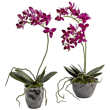 Nearly Natural Mini Phal with Metallic Vase 13.5 x 6 inch Purple (4993-S2)