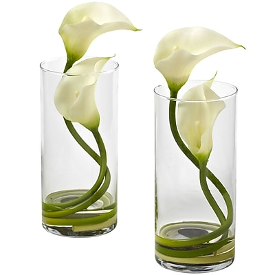Nearly Natural 1390-CR-S2 Double Calla Lily with Cylinder, Cream