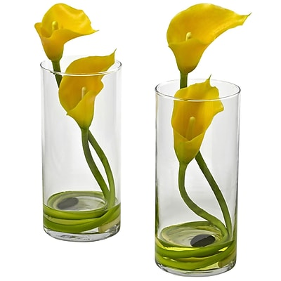 Nearly Natural 1390-YL-S2 Double Calla Lily with Cylinder, Yellow