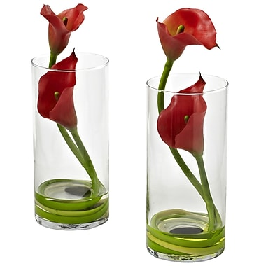 Nearly Natural Double Calla Lily with Cylinder, Red (1390-RD-S2)