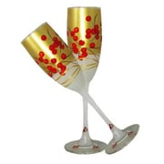 Golden Hill Studio Berries 'n Branches Champagne Glass (Set of 2)