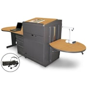 """Marvel® 133"""" Teacher's Desk With Lectern, Metal Door, Steel, Oak/Dark Neutral"""