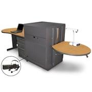 """Marvel® 133"""" Teacher's Desk With Metal Door & Headset Mic, Steel, Oak/Dark Neutral"""