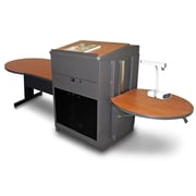 "Marvel® 78"" Steel Keyhole Tables With Media Center, Lectern & Acrylic Doors"