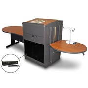 "Marvel® 78"" Steel Keyhole Tables With Lectern, Acrylic Doors & Handheld Mic"