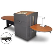 "Marvel® 78"" Steel Keyhole Tables With Lectern, Doors & Headset Mic"