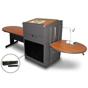 "Marvel® 78"" Steel Peninsula Tables With Lectern, Acrylic Doors & Handheld Mic"