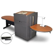 "Marvel® 78"" Steel Peninsula Tables With Lectern, Doors & Handheld Mic"