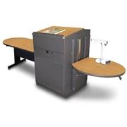 "Marvel® 78"" Peninsula Table With Media Center, Lectern & Doors, Steel, Oak/Dark Neutral"