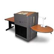 "Marvel® 66"" Rectangular Table With Media Center, Lectern & Acrylic Door, Steel, Cherry/Dark Neutral"
