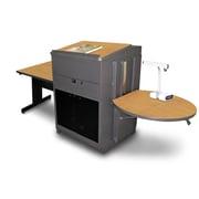 "Marvel® 66"" Rectangular Table With Media Center, Lectern & Acrylic Door, Steel, Oak/Dark Neutral"