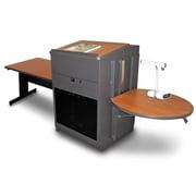 "Marvel® 78"" Rectangular Table With Media Center, Lectern & Acrylic Doors, Steel, Cherry/Dark Neutral"