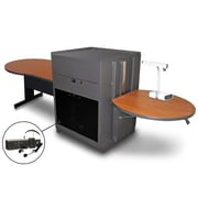"Marvel® 78"" Steel Keyhole Tables With Media Center, Acrylic Doors & Headset Mic"