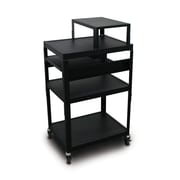 "Marvel® 24"" Adjustable Height A/V Cart With 2 Pull-Out Side-Shelves & Expansion Shelf, Steel, Black"