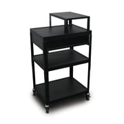 "Marvel® 24"" Adjustable Height A/V Cart With 1 Pull-Out Side-Shelf & Expansion Shelf, Steel, Black"