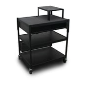 "Marvel® 32"" Adjustable Media Projector Cart With 1 Pull-Out Front-Shelf, Steel, Black"