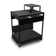 "Marvel® 32"" Adjustable Media Projector Cart With 2 Pull-Out Side-Shelves, Steel, Black"