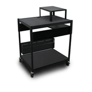 "Marvel® 32"" Adjustable Media Projector Cart With 1 Pull-Out Side-Shelf, Steel, Black"